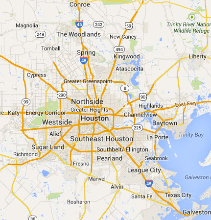 Map Of Houston And Surrounding Area  Indiana Map